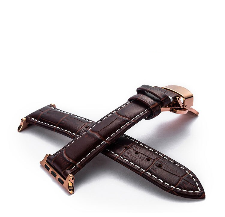 Leather Band for Apple Watch with Butterfly Buckle