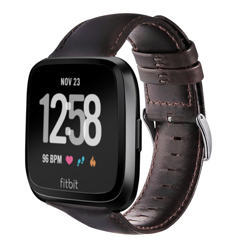 Classic Leather Band for FitBit Versa