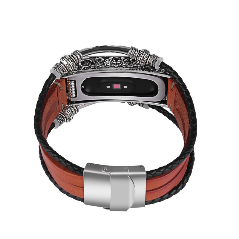 Patterned Metal and Leather Band for Xiaomi Mi Band 4